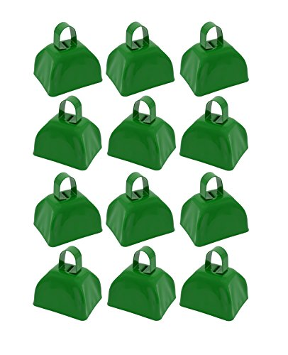 School Cowbells - Set of 12 Green Metal Cowbell Noisemakers (Select A Color)