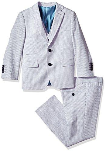 Isaac Mizrahi Little Boys' Slim Stripe Linen 3pc Suit, Blue, 4