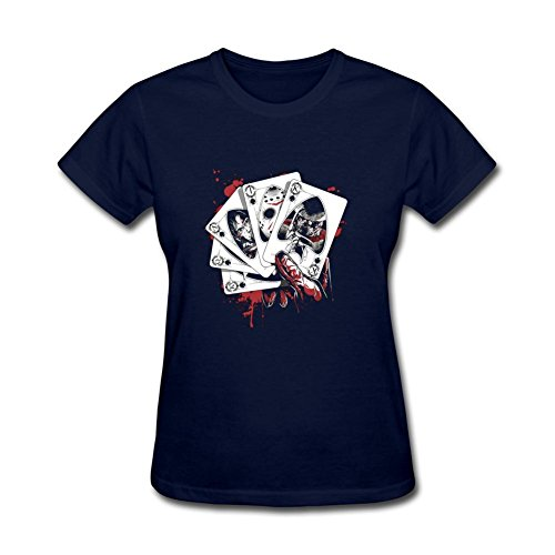 ZhiBo Nightmare Killer Hand Horror Straight Flush Card Designed T-shirt for Women Royal Blue Medium ()