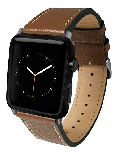 Apple Watch Band, Top-Grain Genuine Leather Watchband for 38mm Apple Watch by Silk - Secure Metal Buckle & Adjustable Strap - (Brown Leather)