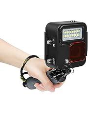 1000lm Kangaroo Buceo Luz Attachment, Carcasa Sumergible 30m, LED bajo Agua Scuba Fill Light para GoPro Hero 7Negro/6/5/4/Hero (2018), con extraíble roja Filtro, Lanyard, 20pcs Bombillas