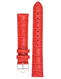 Signature Tropico watch band. Replacement watch strap. Genuine leather. Silver Buckle (18 mm, Red)