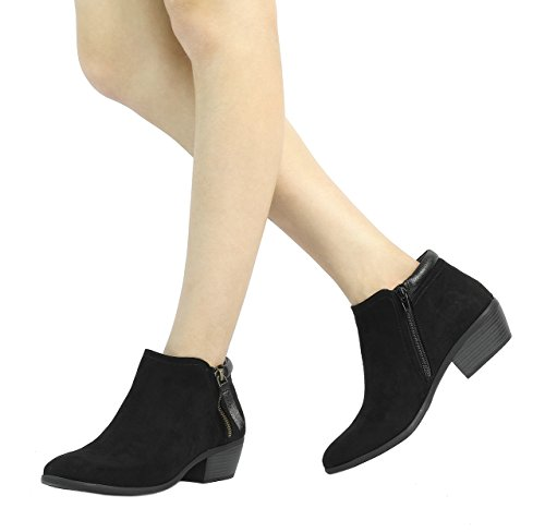 black 02 Cowboy Heel Booties Ankle Side Zipper Women's TOETOS Block 8Zgqnzza