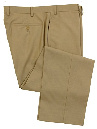 Mens Comfort Stretch Wool Dress - RALPH LAUREN Men's Flat Front Solid Tan Wool Dress Pants - Size 34 x 32