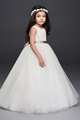 David's Bridal Flower Girl/Communion Ball Gown Flower Girl/Communion Dress with Heart Cutout Style RK1368, White, 8+