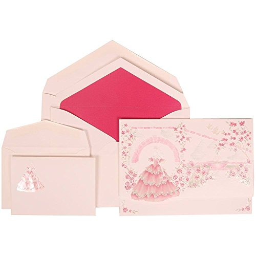 JAM Paper Wedding Invitation Combo Set - 1 Large & 1 Small - Colorful Princess Set, Pink Card with Pink Lined Envelope -100/pack by JAM Paper