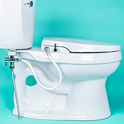 GenieBidet EB-1000 FBA_78956 Seat-Self Dual Nozzles. Rear & Feminine Cleaning-No Wiring Required. Simple 20-45 Minute Installation or Less. Hybrid T with ON/Off Included, White