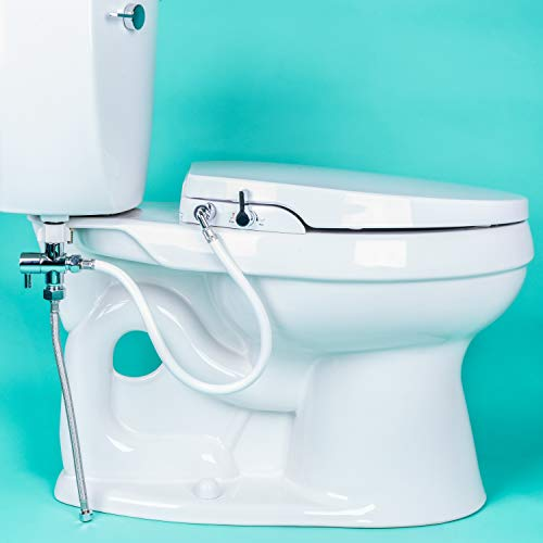 (GenieBidet Seat - Self Cleaning Dual Nozzles. Rear & Feminine Cleaning - No wiring required. Simple 20-45 minute installation or less. Hybrid T with ON/OFF Included!)
