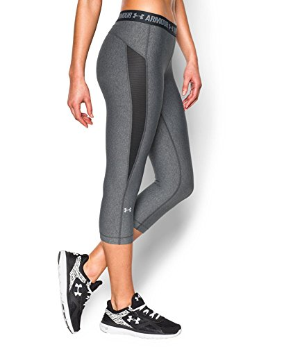 Under Armour Women's HeatGear CoolSwitch Capri, Carbon Heather/Black, Small