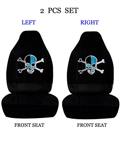 (ALLBrand Universal Fit Front 2-Piece Full Set Crystal Bling Rhinestone Studded High Back Front Bucket Seat Covers (Blue Skull/Black))