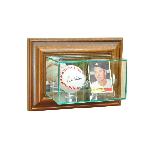 (Perfect Cases MLB Wall Mounted Card and Baseball Glass Display Case, Walnut)