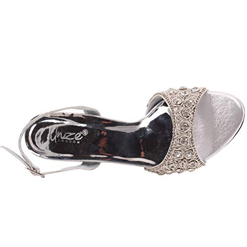 on FIA Frauen Strap Slip Shimmer Sandalen 022 Unze Sling Sandalen Nieten Größe 8 2 Schnalle Kitten Zehe Offene Silber Heel Ak Back 3 UK Schließung 758APAqd