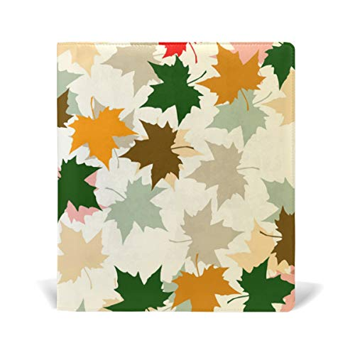 ColourLife Leather Book Covers for Textbooks Hardcovers Beautiful Autumn Maple Leaves School Books Protector 9 x 11 Inches