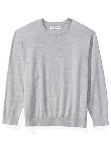 Amazon Essentials Men's Big & Tall Crewneck Sweater fit by DXL, Light Gray Heather, 2X
