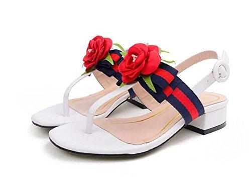 Onfly Cintas Chanclas Tacón Plano Sandalias Chicas Flores de Rosas Decoración Zapatillas abiertas Sandalias White