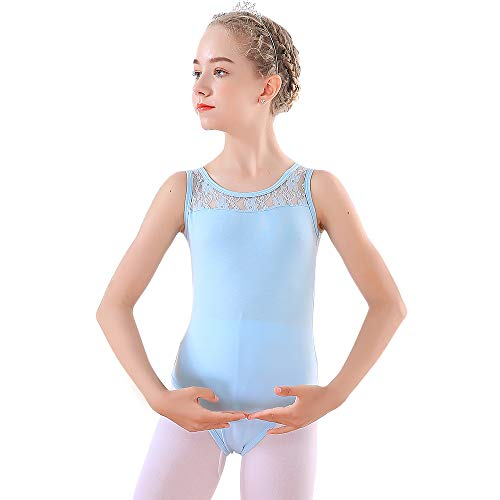 - Soudittur Blue Tank Leotards for Girls Ballet Dance Gymnastics Costume with Lace Neckline and Sleeveless 10-11 Y