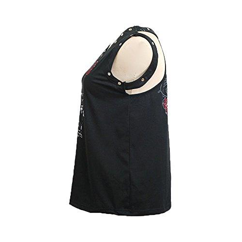 Transpirable Ropa Sin De V Mangas Mujer Esmalte Blusa Top Estampada En Camisetas Y Vendaje 1 Estampado Red Con Cuello Confort Chaleco Bazhahei Camis T0xqXf