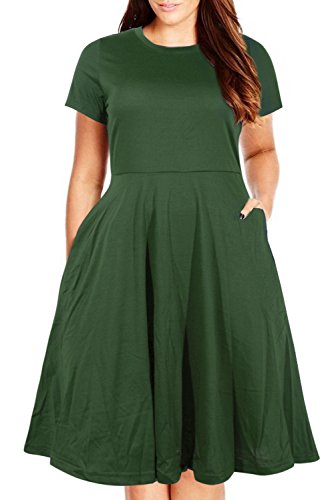 Nemidor Women's Round Neck Summer Casual Plus Size Fit and Flare Midi Dress with Pocket (Army Green, 16W)