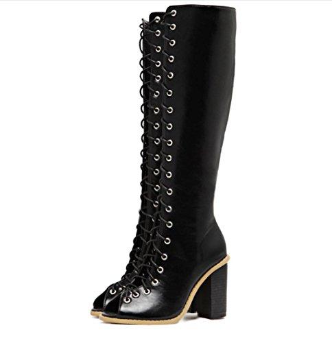 Retro Cinghie Hollow bocca dei pesci di massima Donne YCMDM'S con tacco alto scarpe di moda sandali Stivali singoli , black , 37