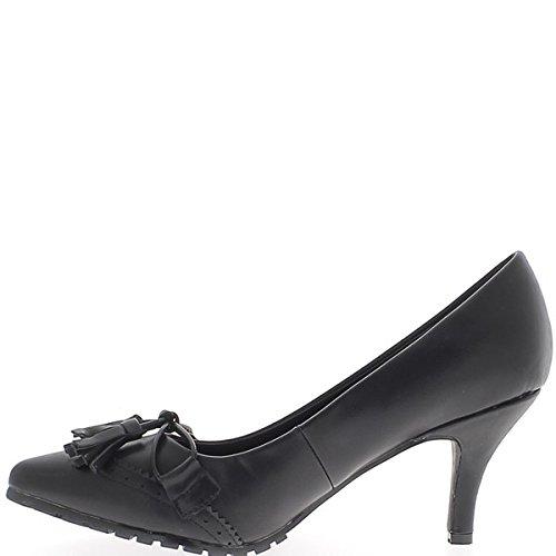 Tamaño grande de zapatos agudo negro pequeño tacón 8,5 cm y decoraciones pompones