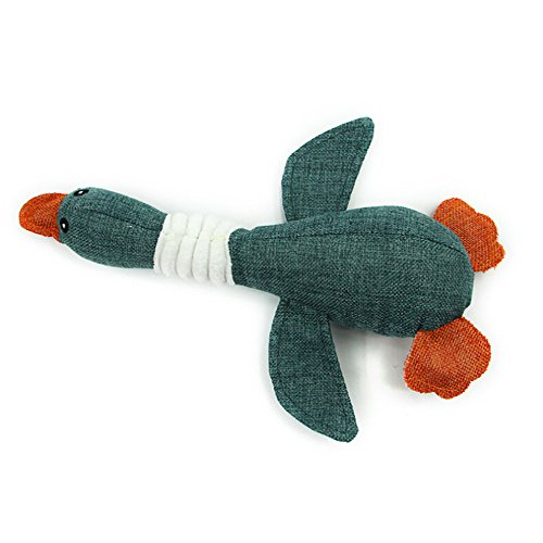 wouke Plush Dog Toys, Pet Wild Goose Sound Toy Solid Resistance to Bite Playable Funny Puppy Chew Toy