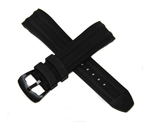 Swiss Legend 24MM Black Silicone Rubber Watch Strap w/ Black Buckle fits 46mm/48mm Evolution (Evolution Buckle Strap)
