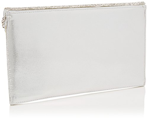 Clutch Diamante Womens Silver Envelope Bag Silver Quiz 8TIq5