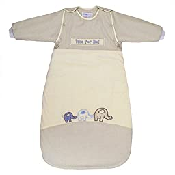 LIMITED OFFER! Elephant Baby Sleep Sack Velour & Cotton Long Removable Sleeves 18-36mths 2.5tog