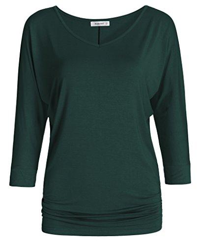 Esenchel Women's V-Neck Dolman Top 3/4 Sleeve Drape Shirt M Forest ()