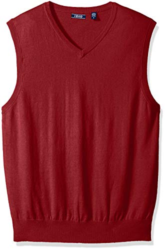 IZOD Men's Premium Essentials V-Neck Sweater Vest, New Biking red, Large