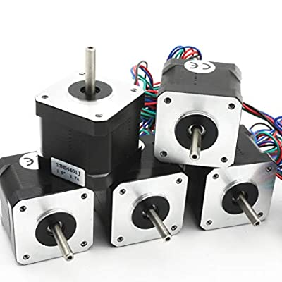 5Pcs Nema17 Stepper Motor 40mm 64oz.in45Ncm 1.7A with 1M 4-pin Cable & Connector Bipolar 42 stepping motor for 3D Printer Hobby CNC