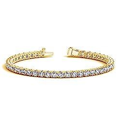 Yellow Gold Round Diamond Tennis Bracelet