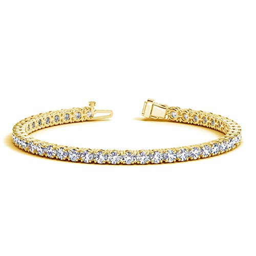 Diamond Womens Tennis Bracelet - 2 Carat Classic Diamond Tennis Bracelet 14K Yellow Gold Value Collection