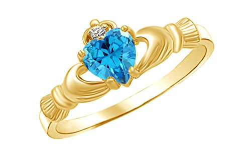 Simulated Aquamarine & White Cubic Zirconia Claddagh Ring in 14k Gold Over Sterling Silver