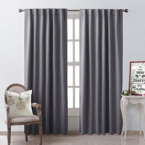 Velvet Panels Drapery Tan - NICETOWN Blackout Curtain Panels Window Draperies - (Grey Color) 52x84 Inch, 2 Pieces, Insulating Room Darkening Blackout Drapes for Bedroom
