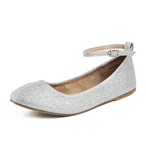 DREAM PAIRS Women's Sole-Fina-Straps Silver Glitter Ankle Straps Ballet Flats Shoes - 8 B(M) US