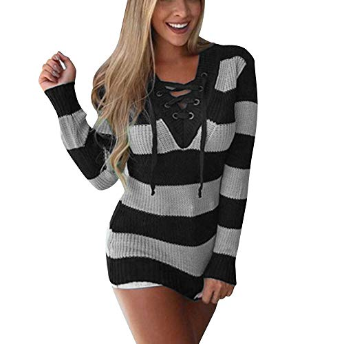 Sunhusing Womens Color Matching Stripe Cross Lace-Up Sweater Shirts Casual Knitted Loose Blouse Pullover