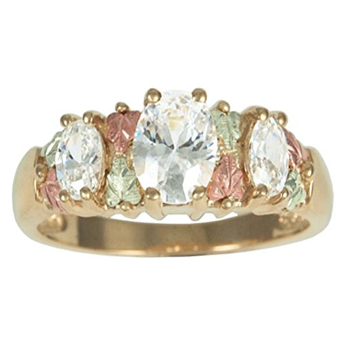 Women's 3 Stone CZ 10k Yellow Gold, 12k Rose and Green Gold Black Hills Gold Motif Ring, Size 4.50 by The Men's Jewelry Store (for HER)
