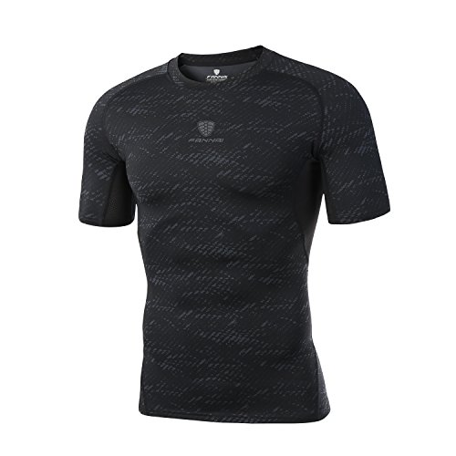 Fannai Mens Short Sleeve T-Shirt Cool Dry Compression Baselayer Running Fitness Shirt?Shapewear for Men - L Black