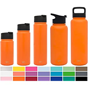 Simple Modern 18oz Summit Water Bottle + Extra Lid - Vacuum Insulated Stainless Steel Wide Mouth Hydro Travel Mug - Double-Walled Flask - Autumn Orange
