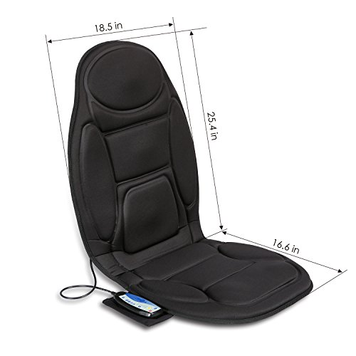 seat cushion vibrating massage cushion with heat therapy for back lumbar thighs legs at home. Black Bedroom Furniture Sets. Home Design Ideas