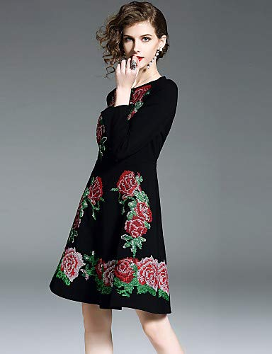 Ricamato vintage chic donna da Street Abito Black Floreale YFLTZ f06Fqw4ntx