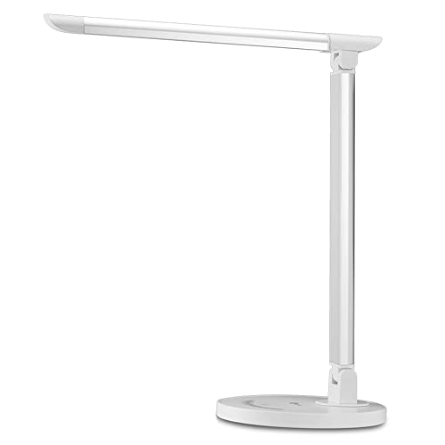 Desk Lamp, TaoTronics LED Desk Lamp, Eye-caring Table Lamps for Study, Reading and Bedroom, Dimmable Office Lamp with USB Charging Port, Touch Control, 5 Color Modes, 12W, White