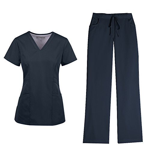 Grey's Anatomy Women's V-Neck Marquis Top 41452 and Drawstring Pant 4232 Scrub Set (Steel(GA) - XX-Small) (Scrub Vet)