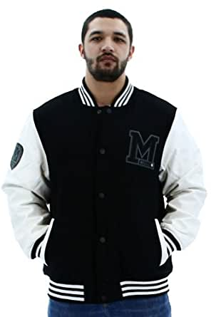 MO7 Most Official Seven Mens Wool Varsity Jacket Coat Faux Leather Sleeve Sz XL
