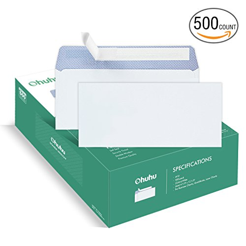 Ohuhu 500#10 Envelopes SELF SEAL Business Envelope Windowless Design, Security Tint Pattern for Secure Mailing, Invoices, Statements & Legal Document, 4-1/8 x 9-1/2 Inches