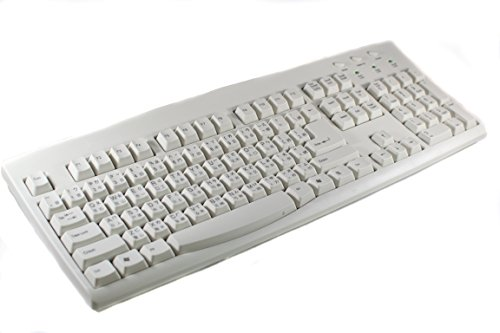 Chinese - English PS2 (Little Round Plug) with USB Adapter (Flat Plug) Wired Computer Keyboard (Beige White Ivory Keyboard with Black Letters Characters) ()