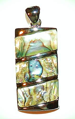 Shell Rectangle Pendant - P1884 Abalone Shell 34mm Tiered Rectangle Pendant w Silver Brass Setting & Bail