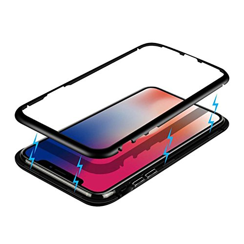 Leodea iPhone X Case, Ultra Slim Magnetic Aluminum Alloy Tempered Glass case (Clear Black) by Leodea