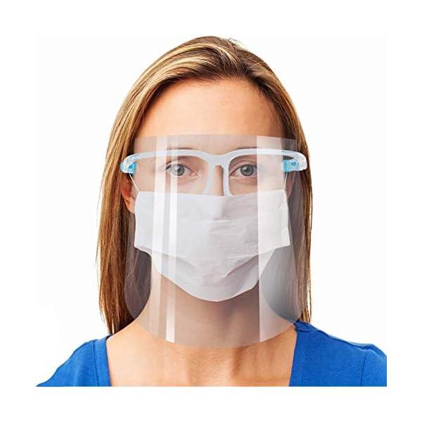 Protector facial de seguridad, paquete de 5 gafas reutilizables, visera transparente antivaho para proteger los ojos de las salpicaduras 2